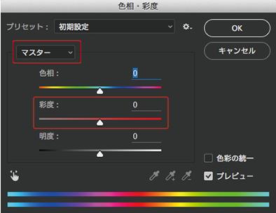 色相・彩度の初期画面